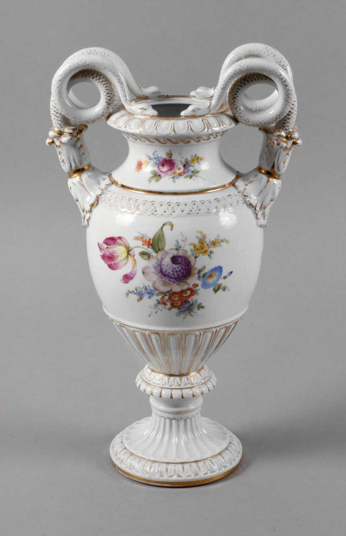 Meissen Teichert snake handle vase with flower painting - photo 1