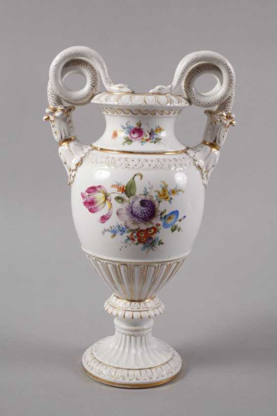 Meissen Teichert snake handle vase with flower painting - photo 2