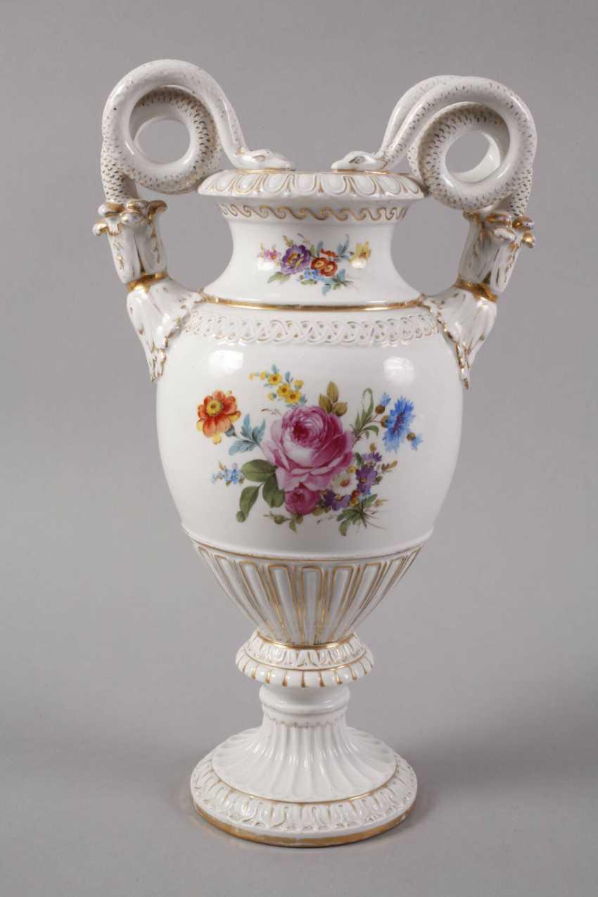 Meissen Teichert snake handle vase with flower painting - photo 4