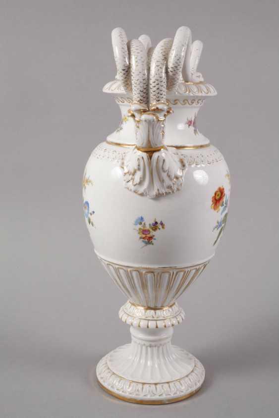 Meissen Teichert snake handle vase with flower painting - photo 5