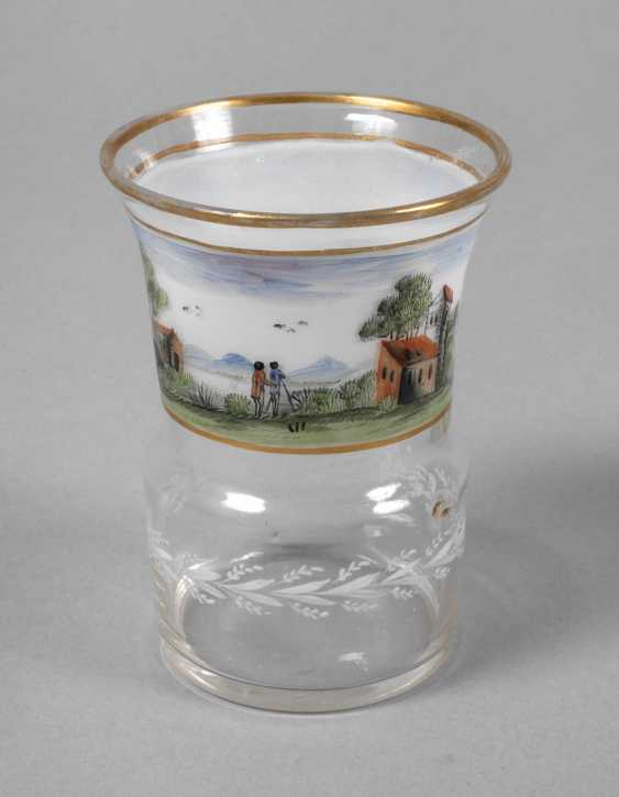 Glass Cup with landscape painting - photo 1
