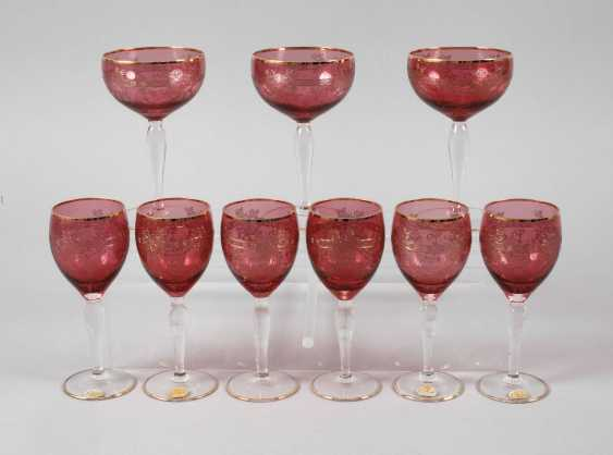 Six wine glasses and three champagne bowls - photo 1