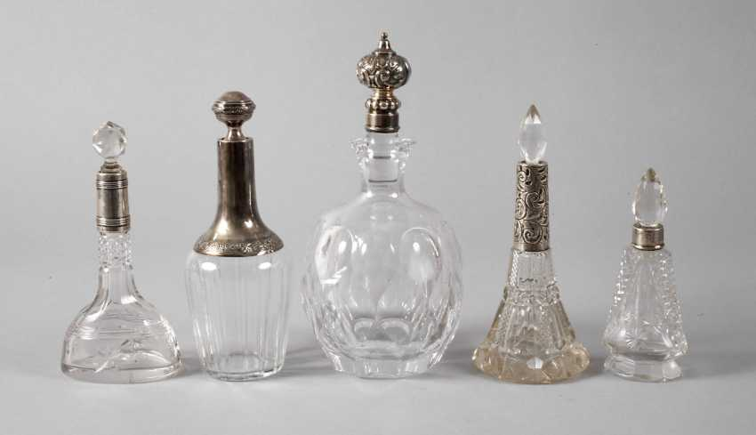 Five crystal bottles with silver cap - photo 1