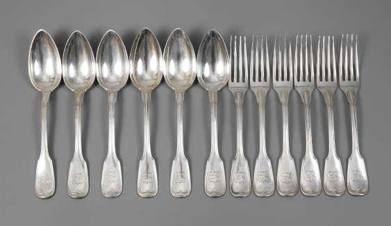 Silver-six-menu, spoon and dining forks - photo 1