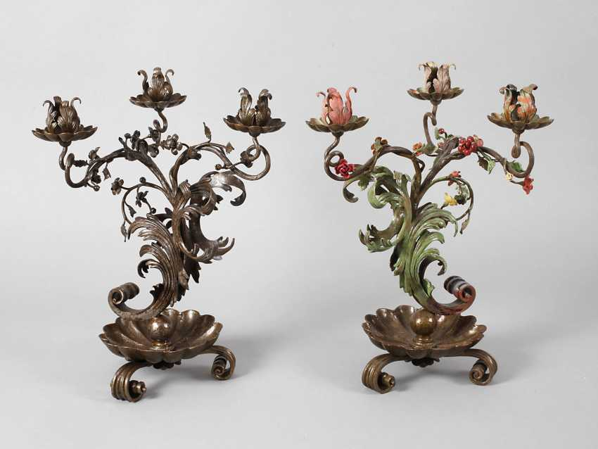 Pair of wrought iron candle chandelier - photo 1