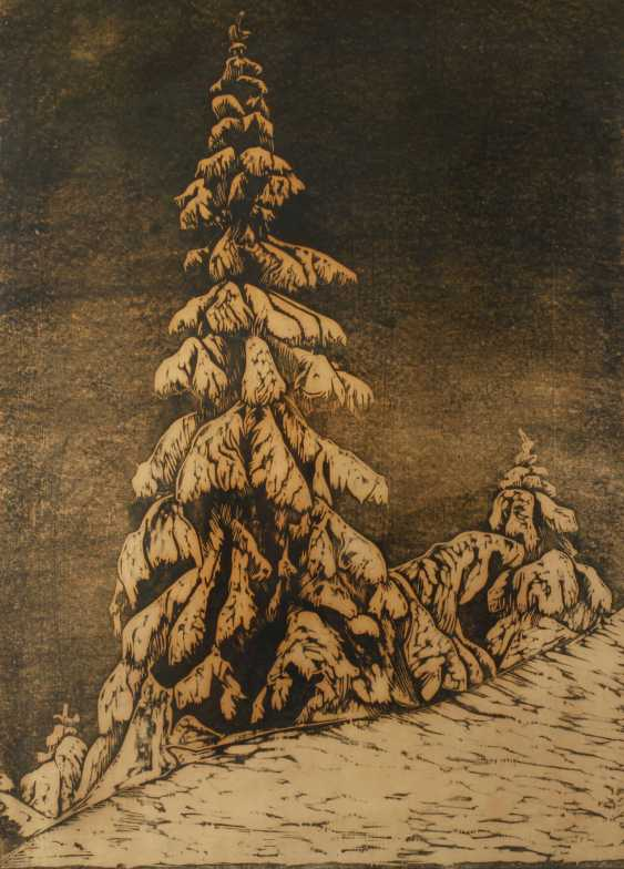 "Ernst Precht, ""fir tree in snow"" - photo 1"