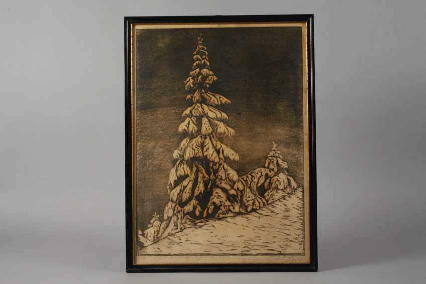 "Ernst Precht, ""fir tree in snow"" - photo 2"