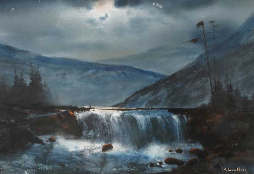 Hjalmar Lundberg, Moonlit Waterfall - photo 1
