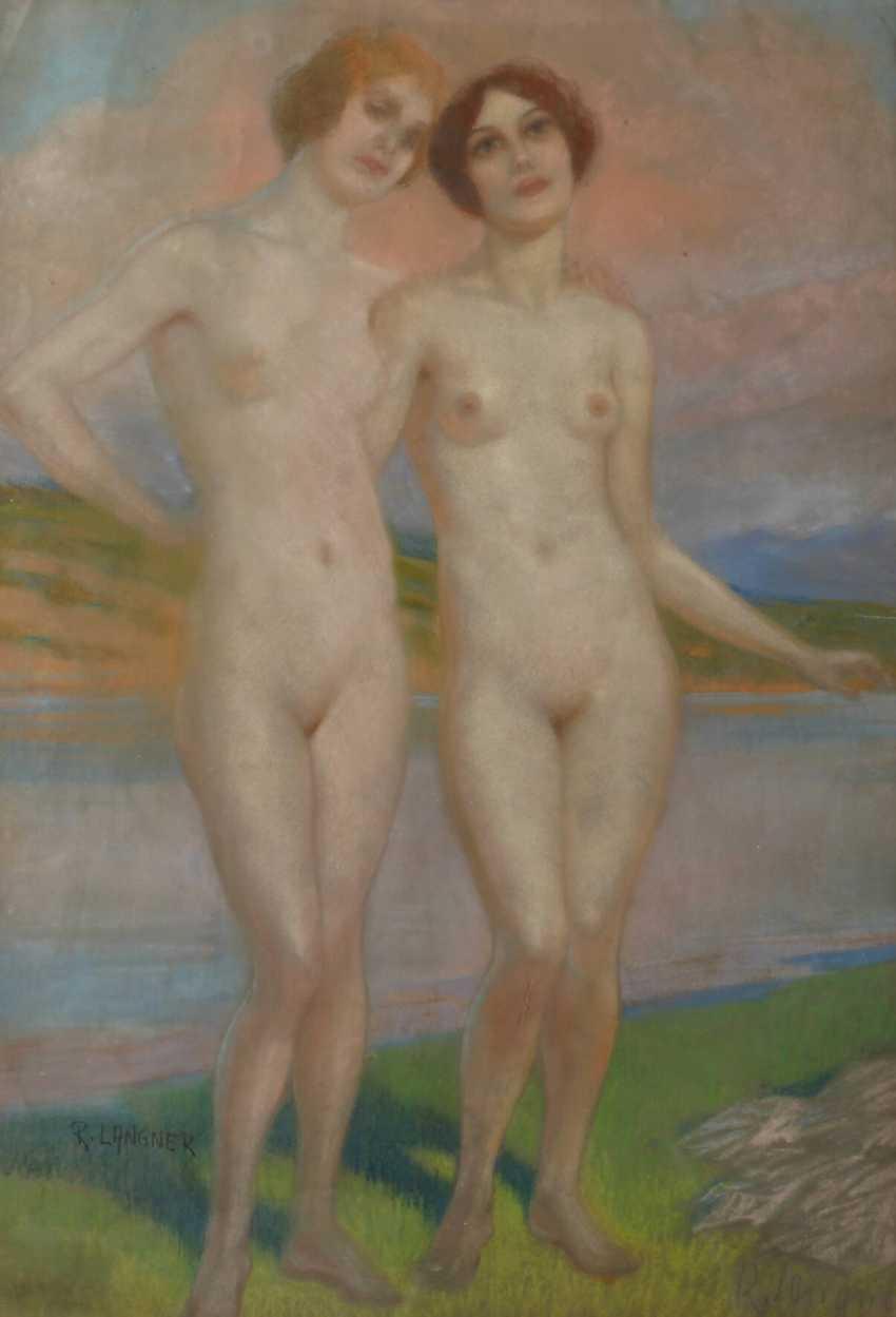 Richard Langner, girls Nudes at the lake - photo 1