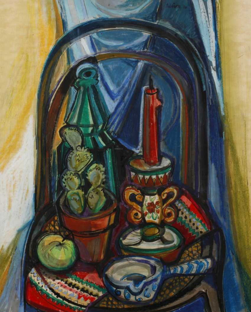 Rudolf Lühr, still life with cactus and candle - photo 1