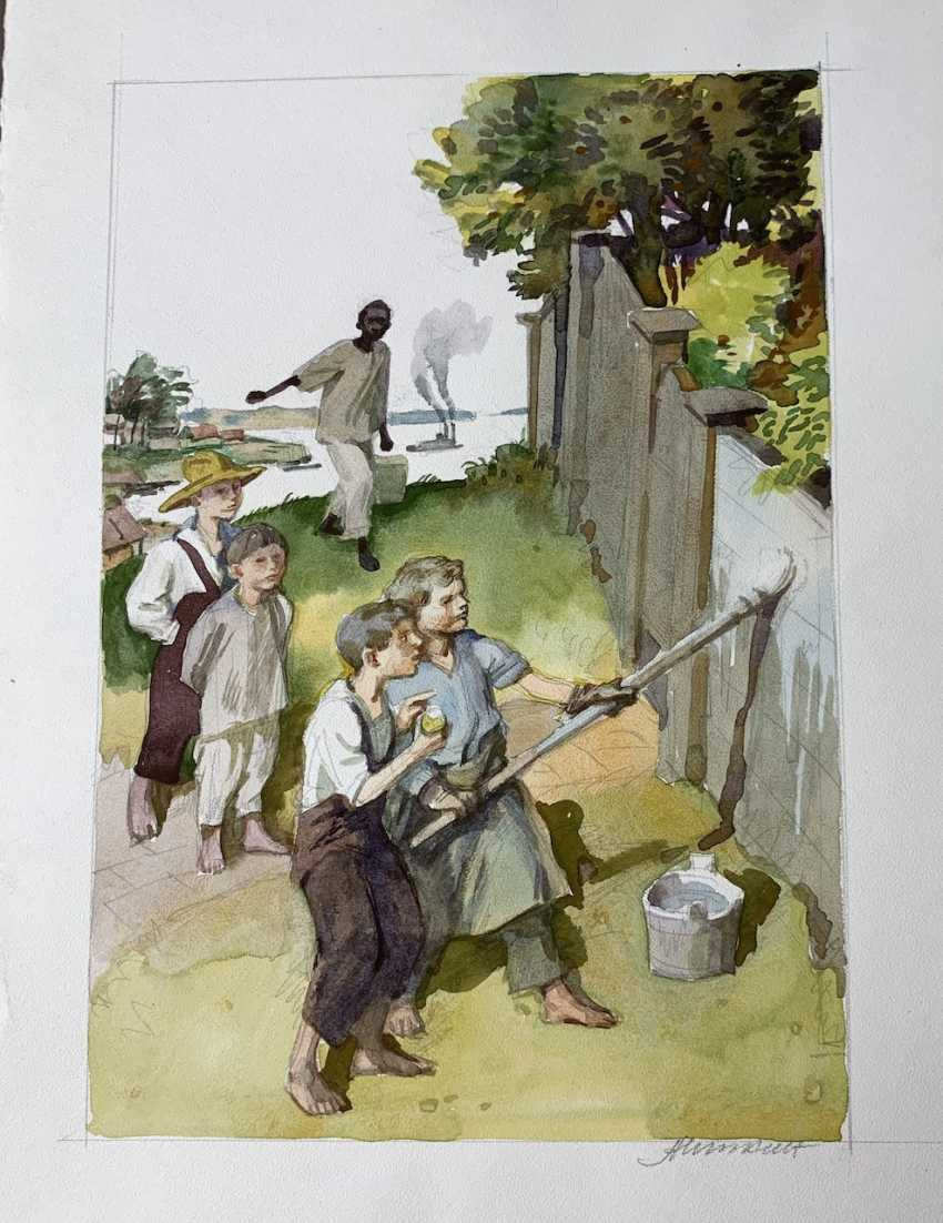 Itkin A. Z. Tom is painting the fence. 1900s - photo 1