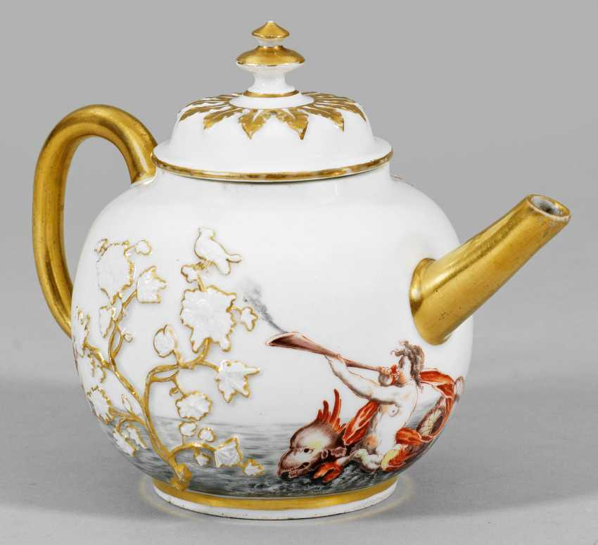 Rare teapot with house painting - photo 1