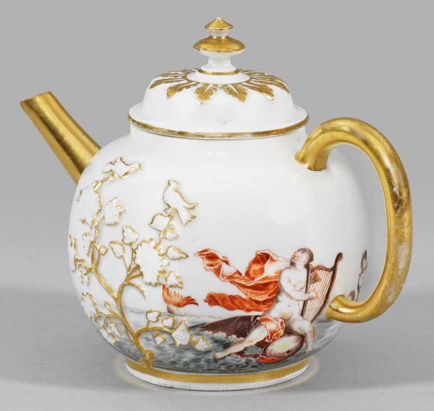 Rare teapot with house painting - photo 2