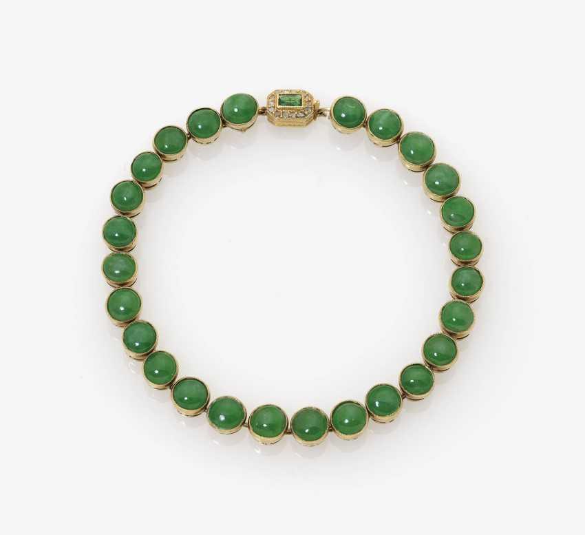Jade bangle with emerald and diamond Clasp - photo 1