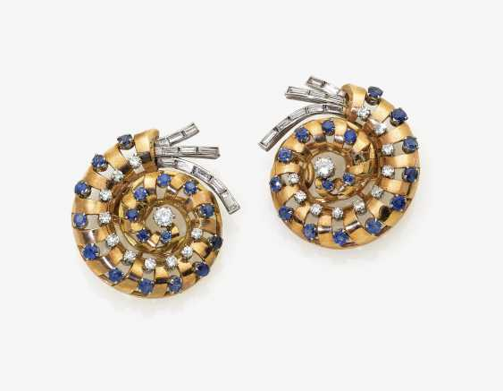 A Pair of ear clips with sapphires and diamonds - photo 1