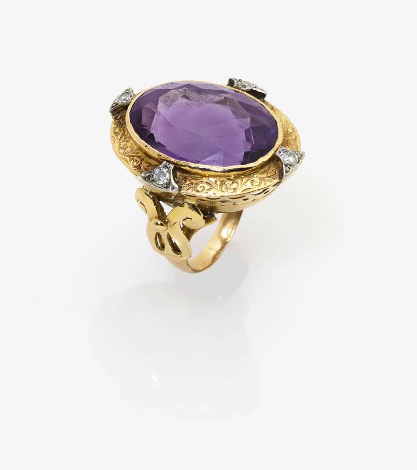 Historicizing outer ring with Amethyst and diamonds - photo 1