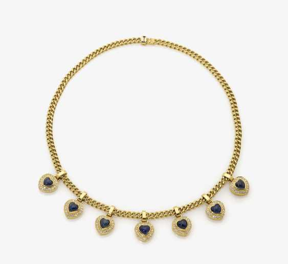 Necklace with diamonds and sapphires - photo 1