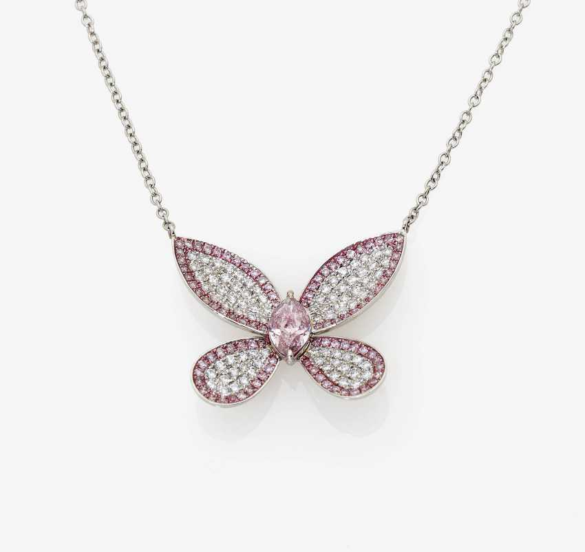 """Shorty-necklace """"butterfly"""" with natural Pink and Purple-Pink diamonds and white diamonds - photo 1"""