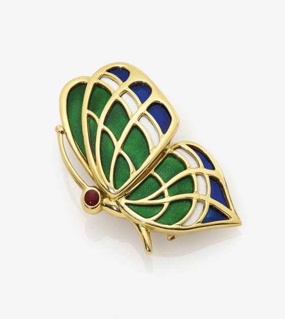 Butterfly brooch with ruby and coloured enamel - photo 1