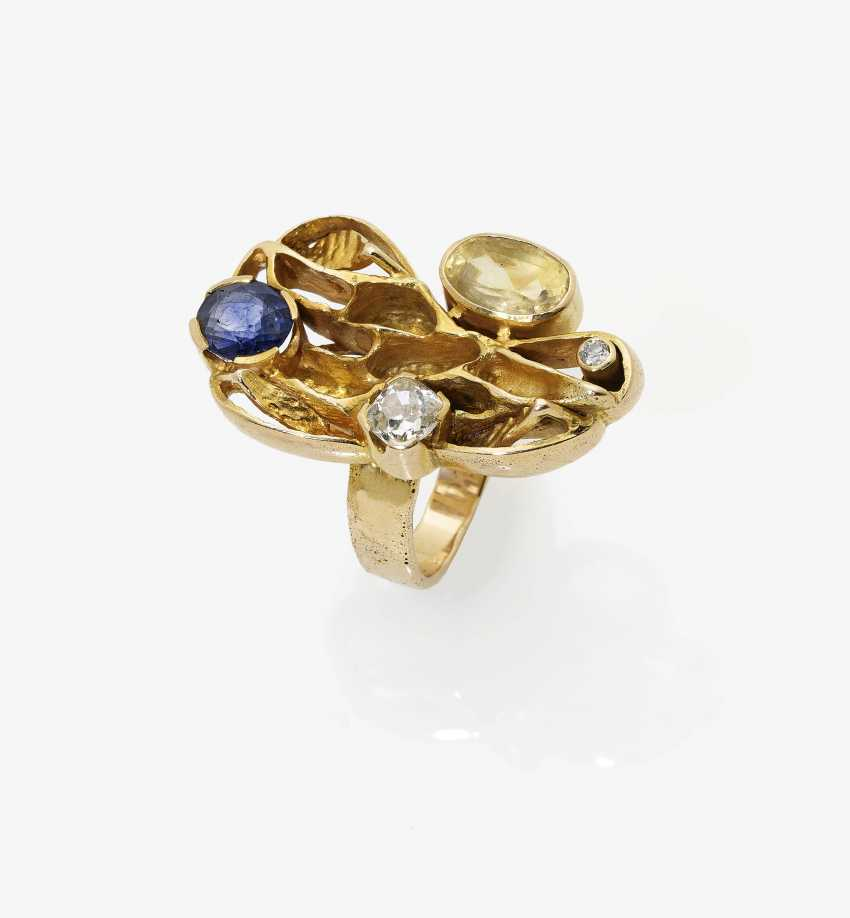 Ring with citrine, sapphire and diamonds - photo 1