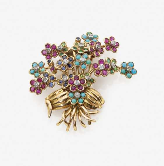 Dress clip in the shape of a flower bouquet with Colour gemstones and diamonds - photo 1