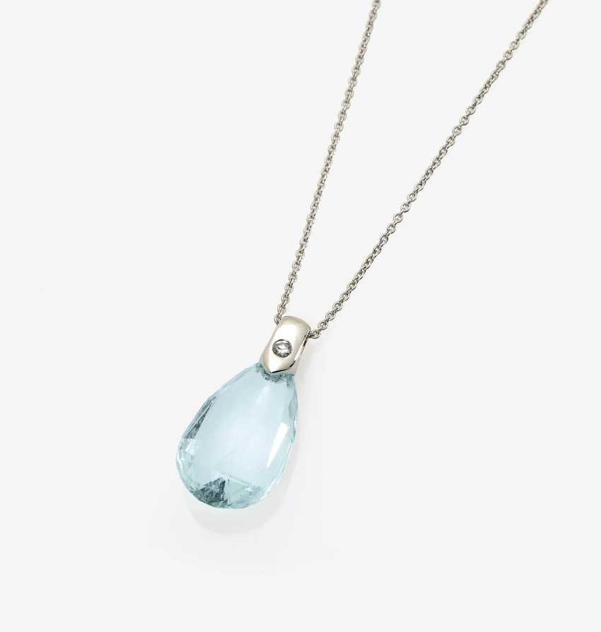 Pendant chain with aquamarine drop and brilliant - photo 1