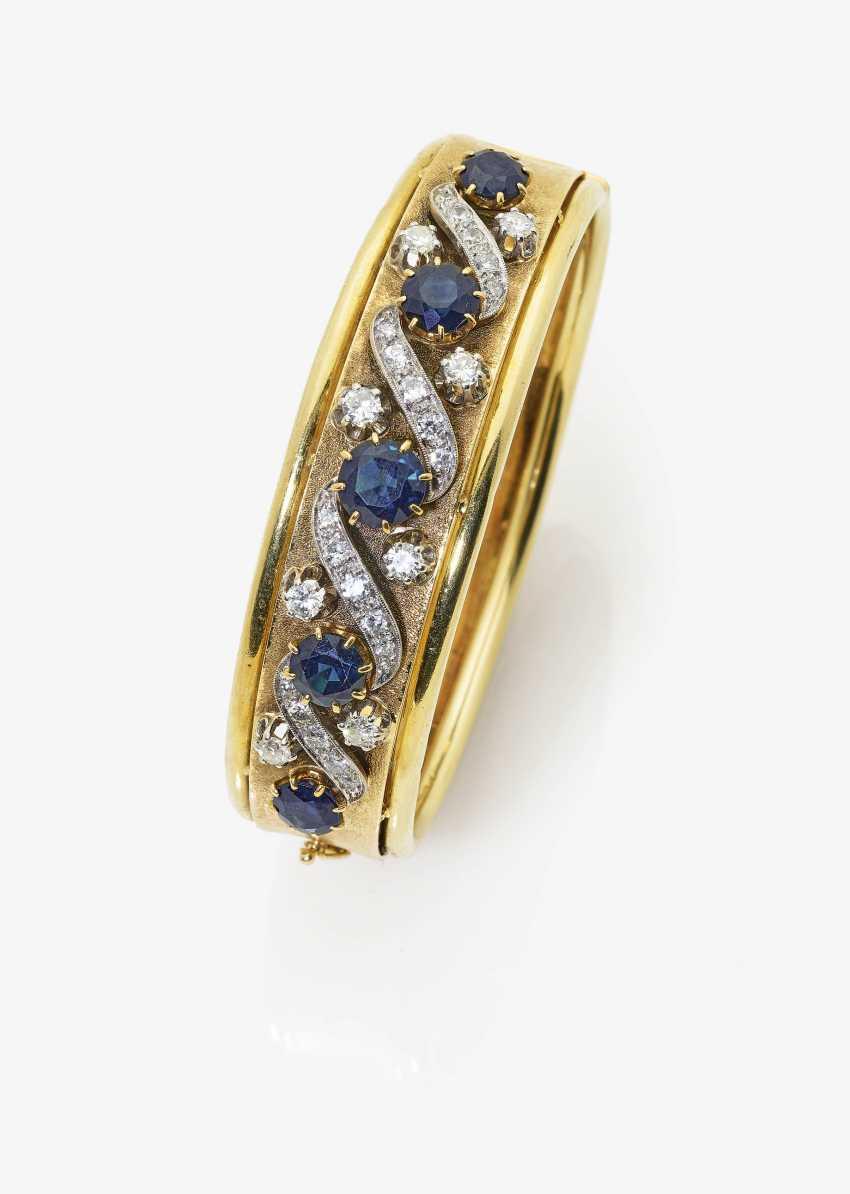 Bangle bracelet with sapphires and diamonds - photo 1
