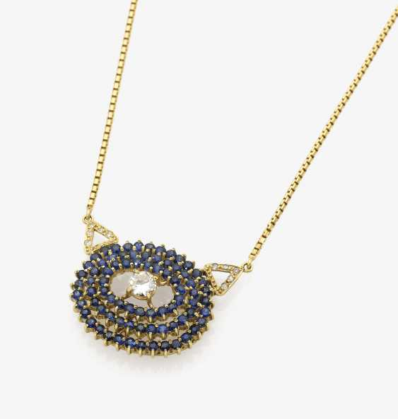 Necklace with diamond and sapphires - photo 1