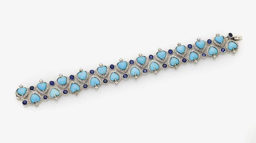 Bracelet with Turquoise, sapphires and diamonds - photo 1