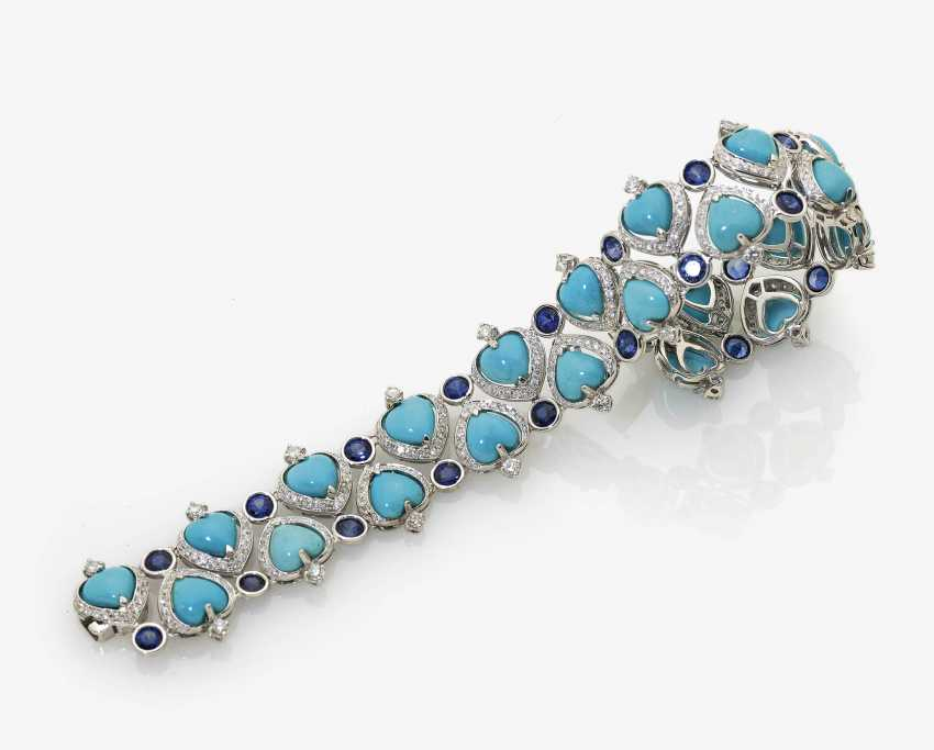 Bracelet with Turquoise, sapphires and diamonds - photo 2