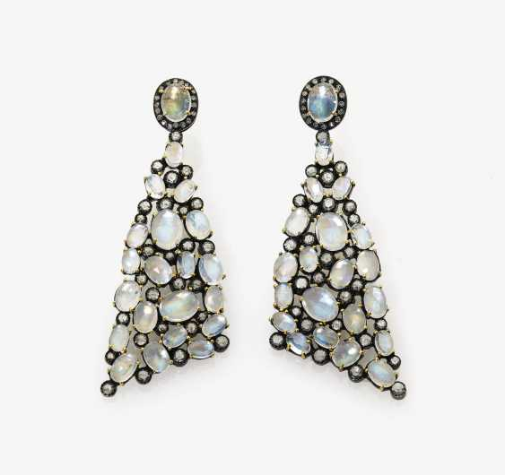A Pair of drop earrings with moon stones, diamonds and diamond roses - photo 1