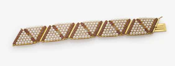 Bracelet with cultured pearls and rubies - photo 1