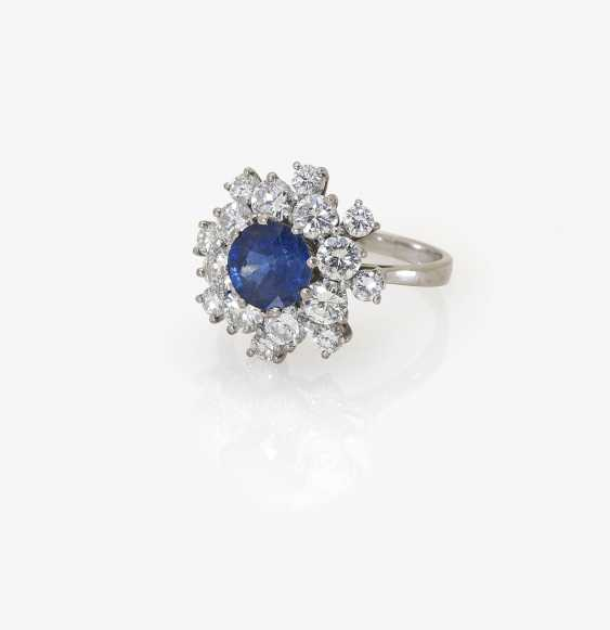 Entourage ring with sapphires and diamonds - photo 1