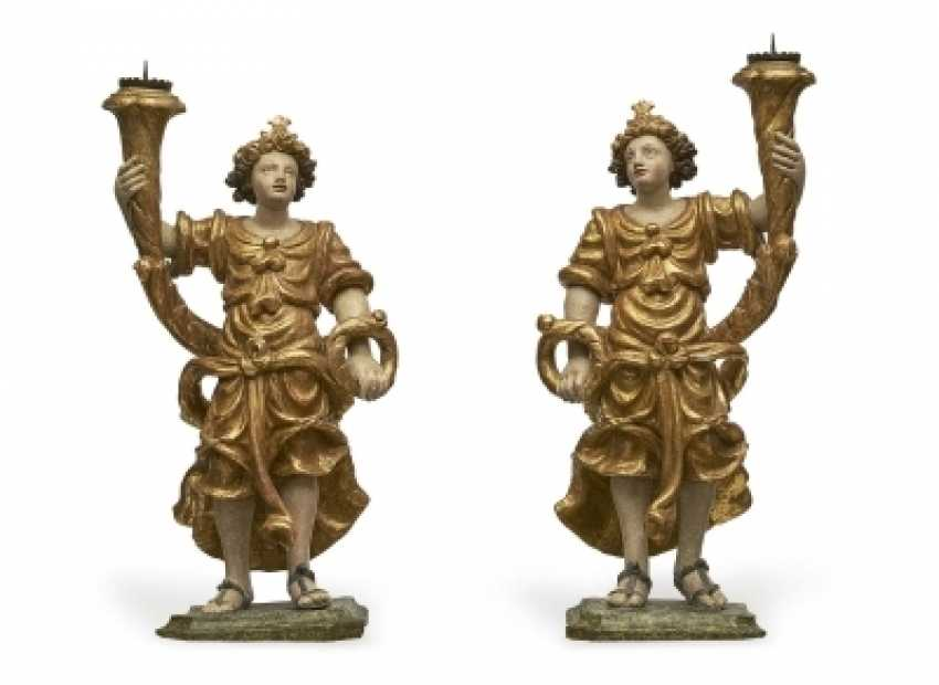 A Pair Of Candlesticks Angel - photo 1