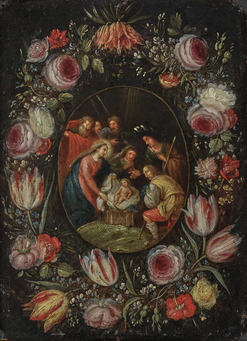 Adoration of the shepherds, in flowers wreath - photo 1