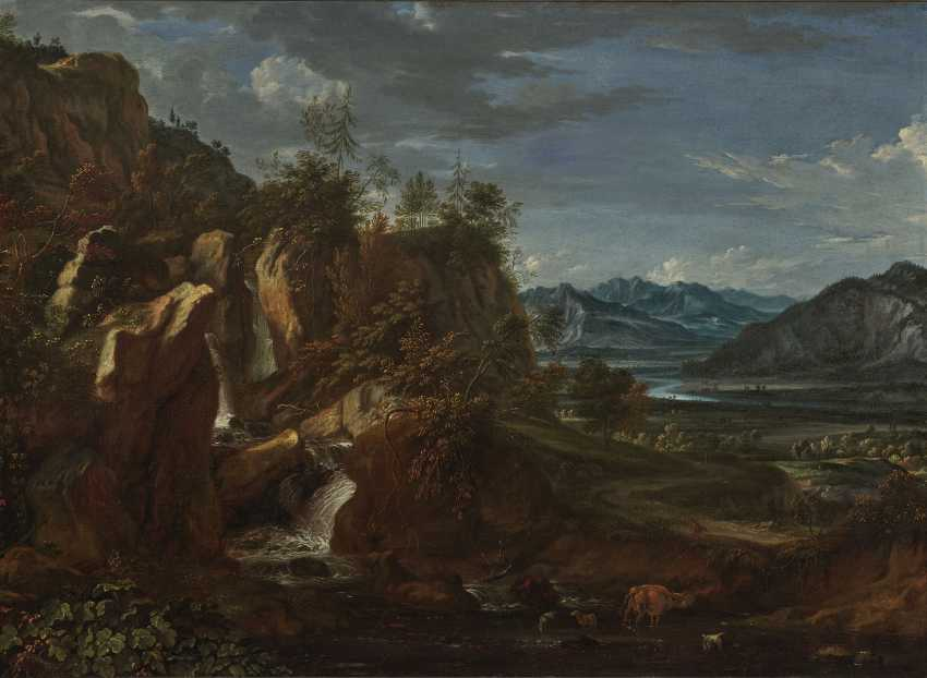 River landscape with a waterfall - photo 1