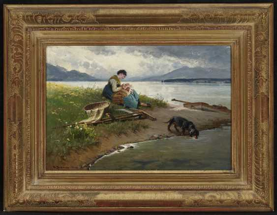 Peasant woman with child and Dachshund on the shore of lake Chiemsee - photo 2