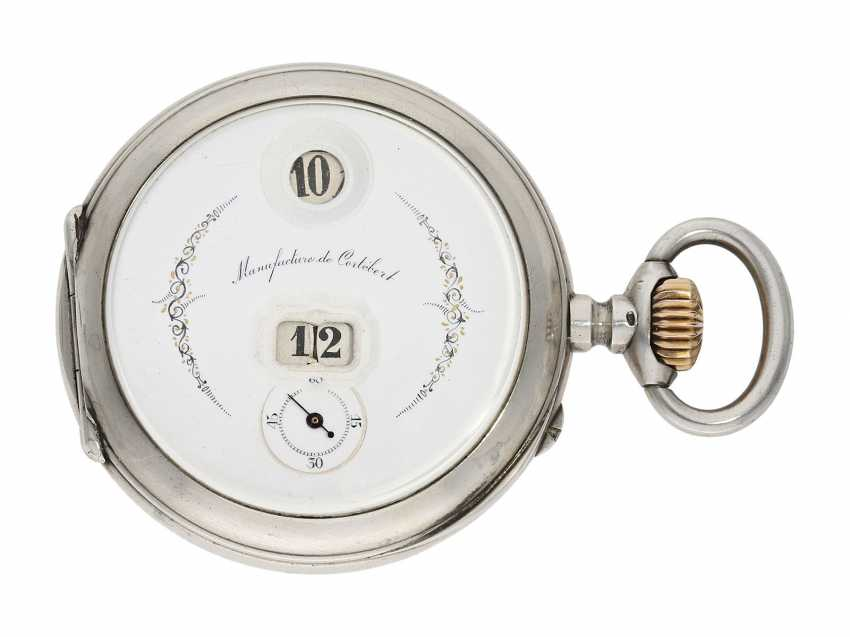 Pocket watch: rare digital pocket watch with jumping hour and jumping Minute, System Pallweber, Cortebert No. 7200, CA. 1900 - photo 1