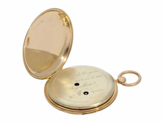 Pocket watch: fine red-gold Lepine with jumping hour and local time display, Breguet students, Giteau Eleve de Breguet, No. 1465, CA. 1830 - photo 4