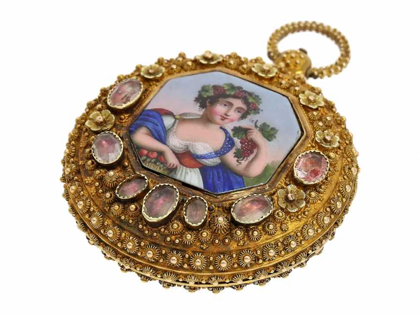 """Pocket watch: Golden pageantry-Spindeluhr with special housing decoration and ultra-fine enamel magnifying glass painting """"The wine goddess"""", probably Geneva, circa 1830 - photo 4"""