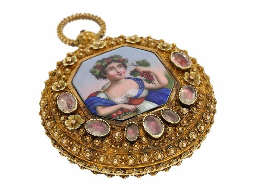"""Pocket watch: Golden pageantry-Spindeluhr with special housing decoration and ultra-fine enamel magnifying glass painting """"The wine goddess"""", probably Geneva, circa 1830 - photo 5"""