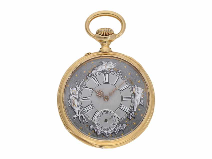 Pocket watch: technical interesting pocket watch with rare winding mechanism according to the above-Courvoisier and a fine En grisaille enamel painting, Switzerland around 1880, No. 8830 - photo 1