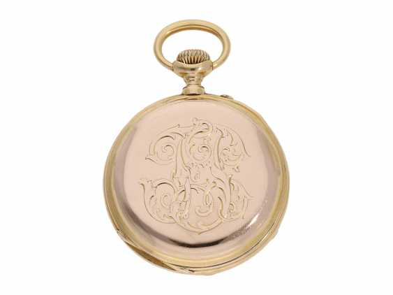 Pocket watch: technical interesting pocket watch with rare winding mechanism according to the above-Courvoisier and a fine En grisaille enamel painting, Switzerland around 1880, No. 8830 - photo 5