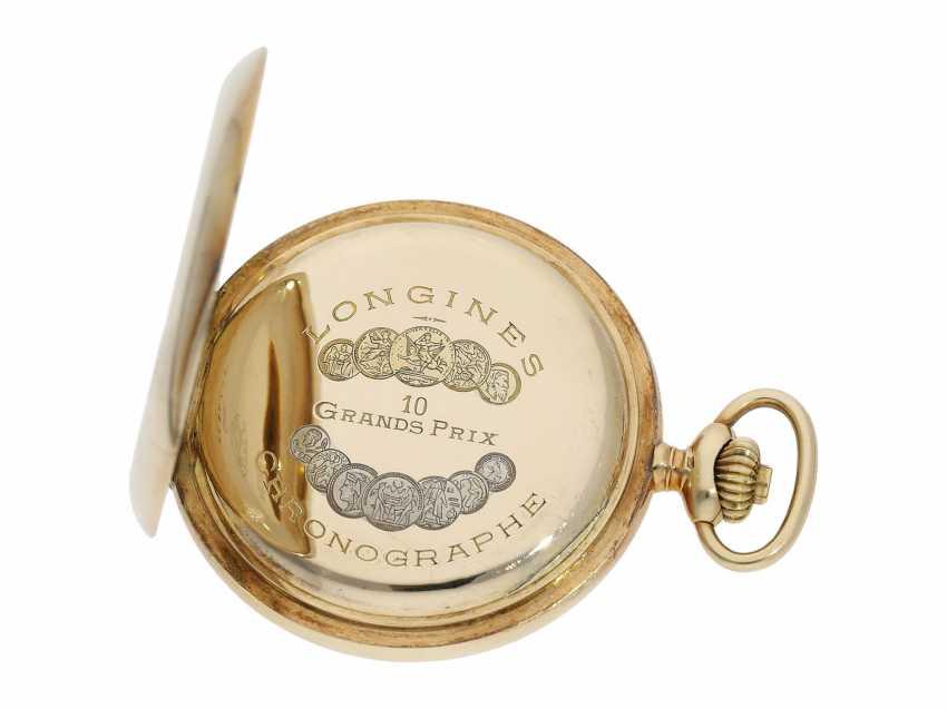 Taschenuhr: feiner, goldener Longines Chronograph mit roter Tachymeterskala und Originalbox, ca.1925 - photo 2