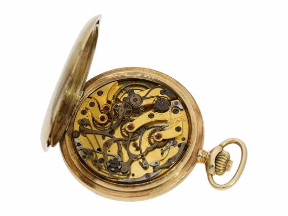 Taschenuhr: feiner, goldener Longines Chronograph mit roter Tachymeterskala und Originalbox, ca.1925 - photo 4