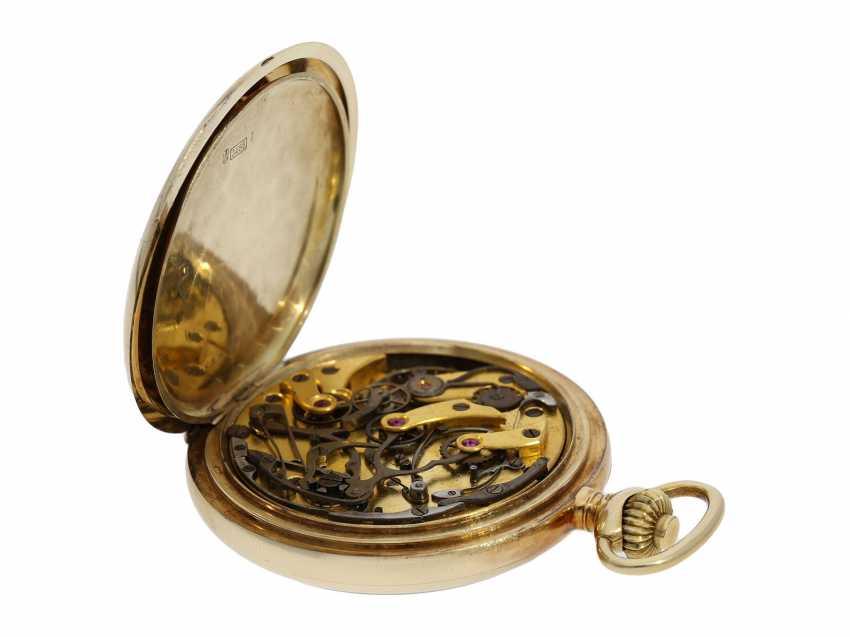 Taschenuhr: feiner, goldener Longines Chronograph mit roter Tachymeterskala und Originalbox, ca.1925 - photo 5