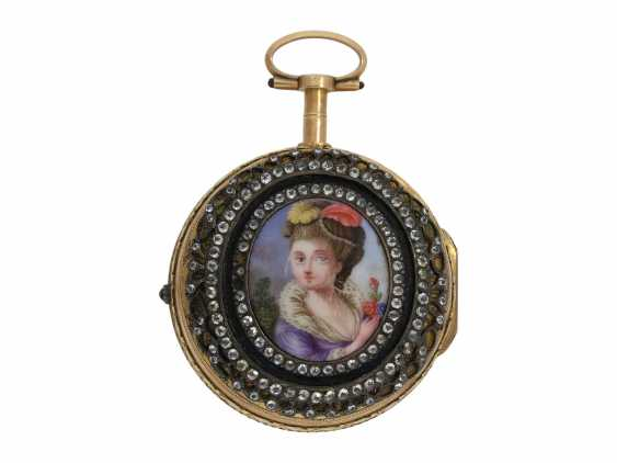 Pocket watch: a Museum and the only known Abraham Colomby Gold/enamel Spindeluhr with associated enamel Chatelaine, the former aristocratic, Geneva, about 1750 - photo 2