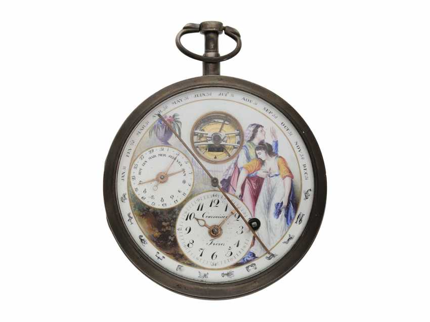 Pocket watch: extremely interesting, particularly large astronomical Spindeluhr with enamel-painting, visible balance-wheel, and 5 astronomical Display, Courvoisier Freres, No. 19515, CA. 1800 - photo 1