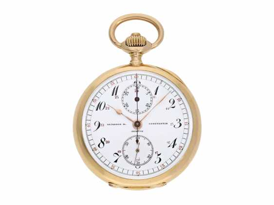 """Pocket watch: extremely rare, small rose-gold-plated Vacheron & Constantin """"Chronograph Compteur"""" in chronometer quality, No. 337442, Geneva, CA. 1907 - photo 1"""