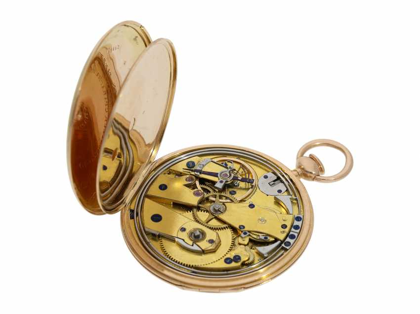 Pocket watch: very fine, almost mint-preserved Lepine, with stone cylinder, temperature compensation, and repeater signed Breguet, No. 577, Paris, around 1830 - photo 3